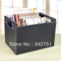 High quality leather journal storage newspaper and magazine racks desktop sundries storage basket
