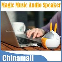360 Degree Cartoon Rabbit God Style Vibration Resonance 3.5mm USB Music Audio Speaker Free Shipping & Drop Shipping