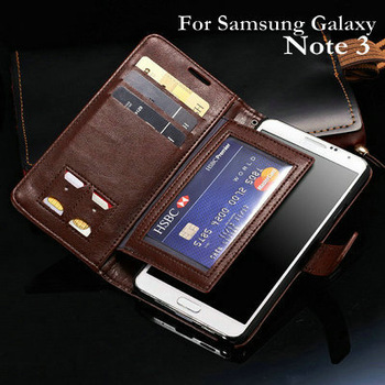 Super Wallet Stand Leather Case For Samsung Galaxy Note 3 III N9000 Phone Bag New 2014 Flip Style Free Protector