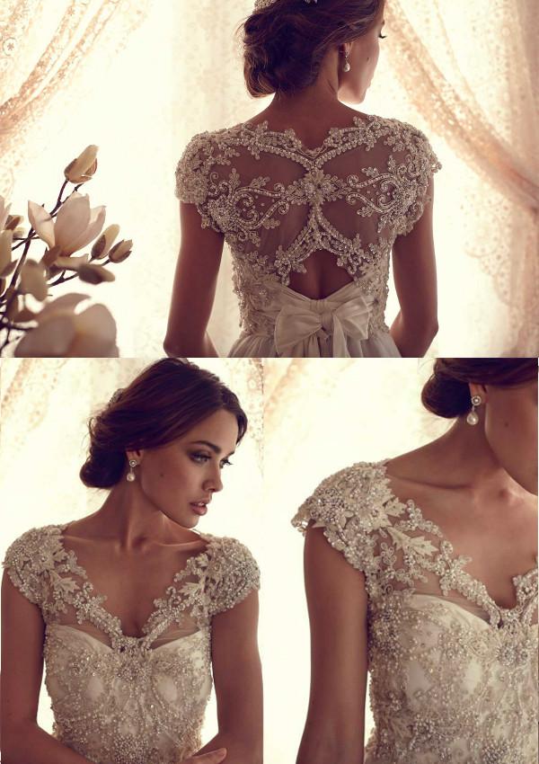 Mode wunderschönen schiere v-ausschnitt Überwurfhülse chiffon Jahrgang brautkleid bodenlange hochzeit partykleid mit bogen zurück vestidos
