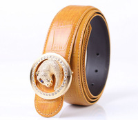 free shipping 1PCS Rhinestone Leopard Round Buckle Genuine Leather Belt Waistband at various colour