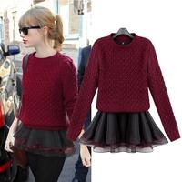 Fashion women's 2014 organza twinset sweater fashion one-piece dress autumn and winter