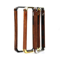 wholesale ronin slim ultra thin Wooden wood case brand Design Aluminum Metal wood frame Case for iphone 4 4S