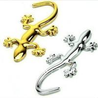 Car supplies 3D Gecko Shape Golden and Silver Chrome Badge Emblem Decal Car Sticker  Free shipping