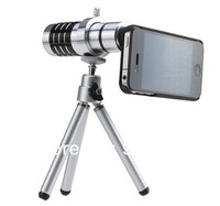 Aluminum 12X mobile zoom telescope for mobile phone iphone5+Mini tripod+Universal holder+Cover Case