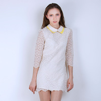 2013 autumn sweet gentlewomen slim peter pan collar lace one-piece dress short skirt