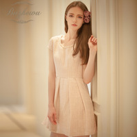2013 small sweet slim woolen beading tweed fabric one-piece dress basic skirt