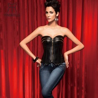 Spiral Steel Boned Overbust Corset top with G-string  Women Brocade Gothic Ring Buckle Corselet Punk Bustier free shipping
