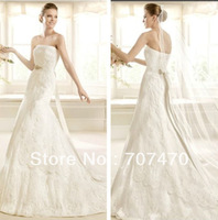 CustomizedNew Fashion Straplesss Mermaid Wedding Dresses Lace vestido de noiva Open Back Women Bridal Gowns 2014