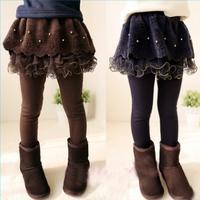 Children's clothing female child 2014 spring winter thickening plus velvet skinny pants spring and autumn boots pants legging