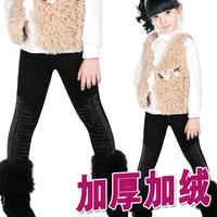 Children's clothing female winter child sparkling diamond thermal thickening plus velvet legging skinny pants child all-match