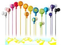 Multi-colored smiley earphones ehp-in10 boxed fruit earphones heatshrinked q3