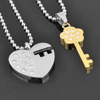 Key love pendant male women's fashion trend of the lovers necklace male Women titanium accessories