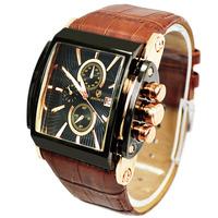 2014 New Brand Quartz Military Wrist Men Watch Date Display Square Dial Genuine Leather Strap Watch Quality Luxury Quartz Watch