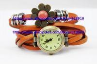 100pcs/lot Roma women cow leather watch fashion 2014 plum blossom dress bracelet quartz wintersweet wrist watches 7 colors