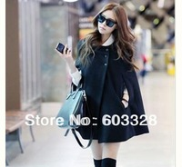 Fashion Trendy Winter Warm Womens Batwing Cape Wool Poncho Sweatshirt Cloak Coat Tracksuit Tops Outerwear Ladies Jacket Clothes