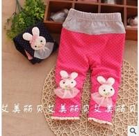 Free shipping 2014 spring fashion Korean kids trousers baby girls' rabbit flower Leggings A064