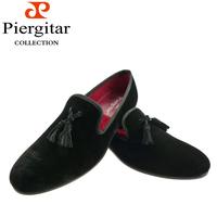 Black Tassel Men Velvet Loafer Slippers Size 6-13 Free Shipping