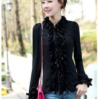 2013 spring and summer autumn fashion women top ol long-sleeve ruffle white chiffon shirt