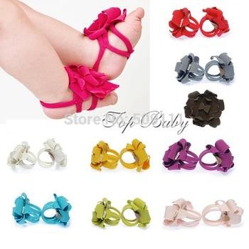 Детские ноги цветок ноги полоса для ног галстуки босиком сандалии для новорожденных девочек и мальчиков бесплатная доставка 20 пар S062