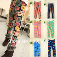 Kid Girl wInter Legging girls thick pants Lady Fleece Lined Cartoon Trousers Flower Snowflake Dot 7 Patterns Free DropShipping