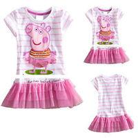 Kid dress peppa pig clothing summer kids tutu lace child dress girl dresses princess baby wear flower