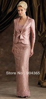 Elegant Long Sleeves With Jacket Lace Appliques Sheath Satin Mother Of The Bride Dresses Free Shipping
