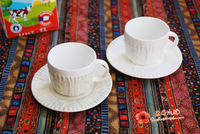 New arrival embossed yarn afternoon tea fashion coffee cup and saucer set asit breakfast cup milk cup glass ceramic
