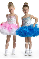 Free Shipping Pink Spaghetti Organza Keyhole Back Mini Cupcake Sequins Beaded Little Flower Girls Pageant Dresses Custom Made