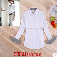 Patchwork plaid long-sleeved white shirt, Ms. Slim thin Spring New Korean Women wear shirts shipping S--5XL