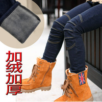 2014 spring autumn winter knee wrinkle knitted stretchable denim jeans pants 3T-14