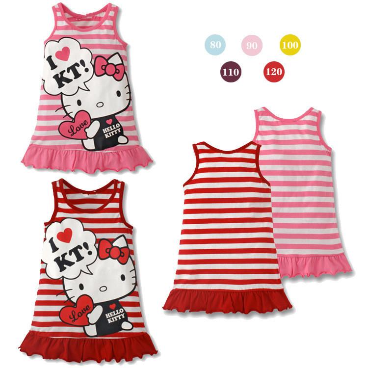 2013 girls kt dress New fashion hello kitty cartoon striped vest dress girl princess dress KT baby girls cloth free ship Q09269(China (Mainland))