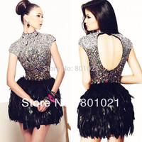 Luxury Sheath Short Sleeves Satin Black Feathered Rhinestone Mini Cocktail Dresses For Women Party Dresses 2014