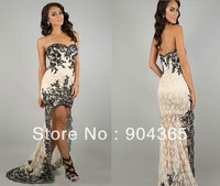 Free Shipping New High-low Strapless Sweetheart  Applique Lace Cocktail Pageant Prom Dresses Evening Gowns