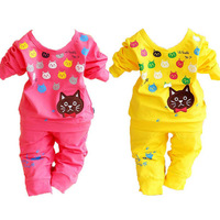 3sets/lot 2014 spring clothing sets new born baby long sleeve cotton cute cats suit ZZ1913