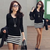 New arrival 2014 Long Sleeve Dresses Women Korean fashion Slim Sexy striped mini OL lady's dress Skirt free shipping