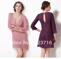Free shopping 100% mulberry silk sleepwear women deep V-neck racerback sexy silk sleepwear-Fake a penalty ten