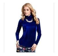 Female velvet long-sleeve T-shirt thermal gold velvet top thickening basic turtleneck shirt plus size