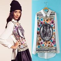 Free Shipping Flower printed Blouses as*  2014 Women Brand Blusa Chiffon Shirt  plus size Dress american apparel Autumn -Summer