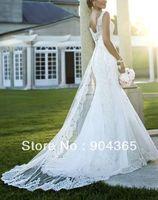 Free Shipping Spaghetti V Neckline Lace Appliques Satin Tulle White Ivory Mermaid Wedding Dresses Chapel Train Backless