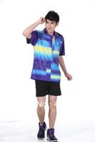 Wholesale badminton clothing men sport jacket lapel short sleeve shorts+shirts