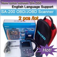 2PCS / LOT Color screen SA-200  Russian  version support OBD2 EOBDII JOBD / CAN, ,51 car type, auto diagonostic scan tool