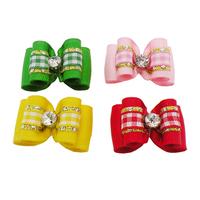 Armi store Handmade Small Dog Accessories Grooming 21030 Cute Plaid Ribbon Hair Bow  Wholesale