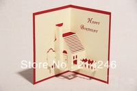 wholesale birthday cards  3D greeting cards kirigami  pop-up cards happy life cards creative present free shipping