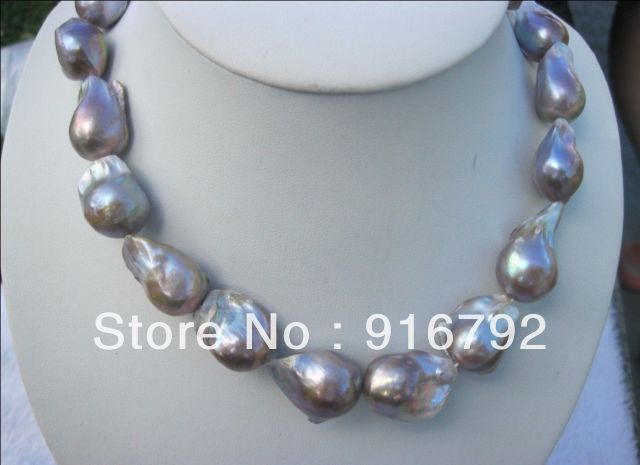free shipping >>>>>Genuine HUGE color AAA south sea BAROQUE Pearl Necklace 18-25mm(China (Mainland))
