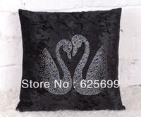 Free Shopping Special luxury sofa fabric pillow cover cushion without the core model room bed cushion covers Rhinestone Swan
