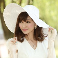 2014 New Fashion Summer Women Straw Sun Hats Wide Brim Bowknot Floppy Caps Beach Sun Protection Hat Caps Casual Style H32