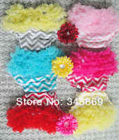 New Style Baby Chevron Chiffon Ruffle Bloomers Infant Little Girls Shorts Toddler Diaper Covers 6pieces/lot Free Shipping