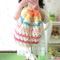 Small fresh multicolour stripe straw bag rattan bag beach bag knitted straw bag women's handbag