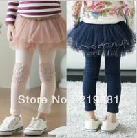 free shipping  ! Kids new gauze flower leggings ,girl leggings, 5pcs/lot   AQ07